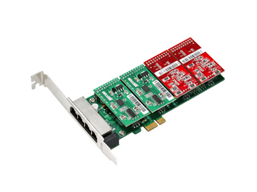 AXE400PL 4 ports FXO/FXS PCI Express Card Low Profile